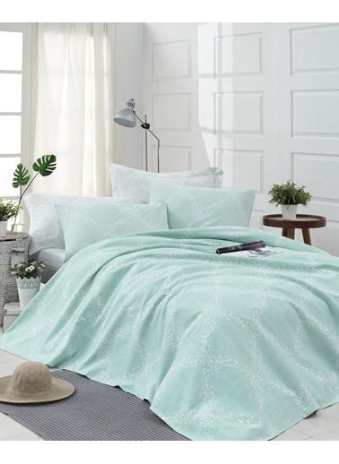 EnLora Home %100 Doğal Pamuk Pike Takımı Tek Kişilik Nadine Mint Yeşil